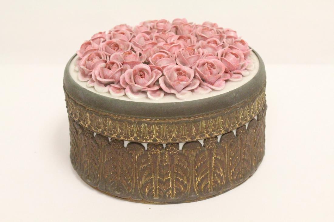 European porcelain box with metal ormolu