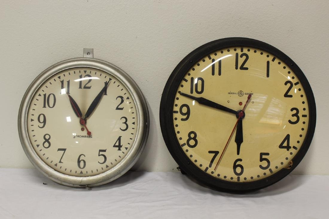 2 vintage school wall clocks