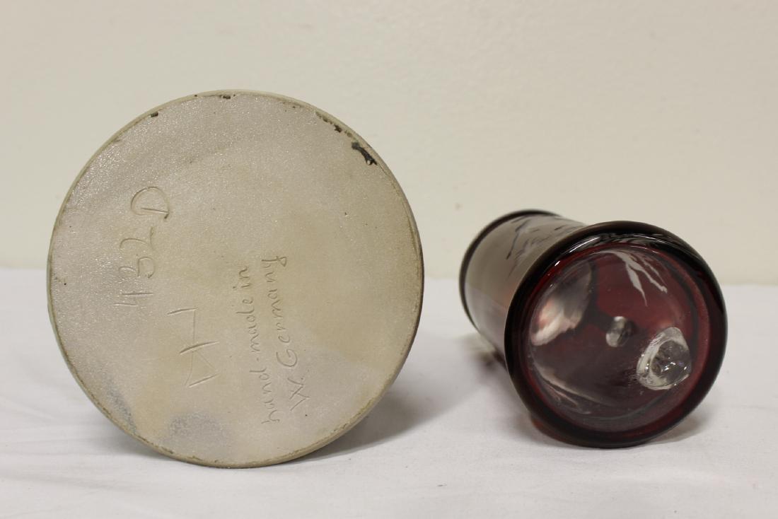 2 German beer steins, one is etching ruby glass - 4