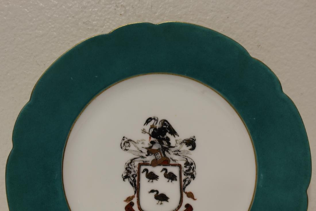 2 French porcelain plates painted with family crest - 3