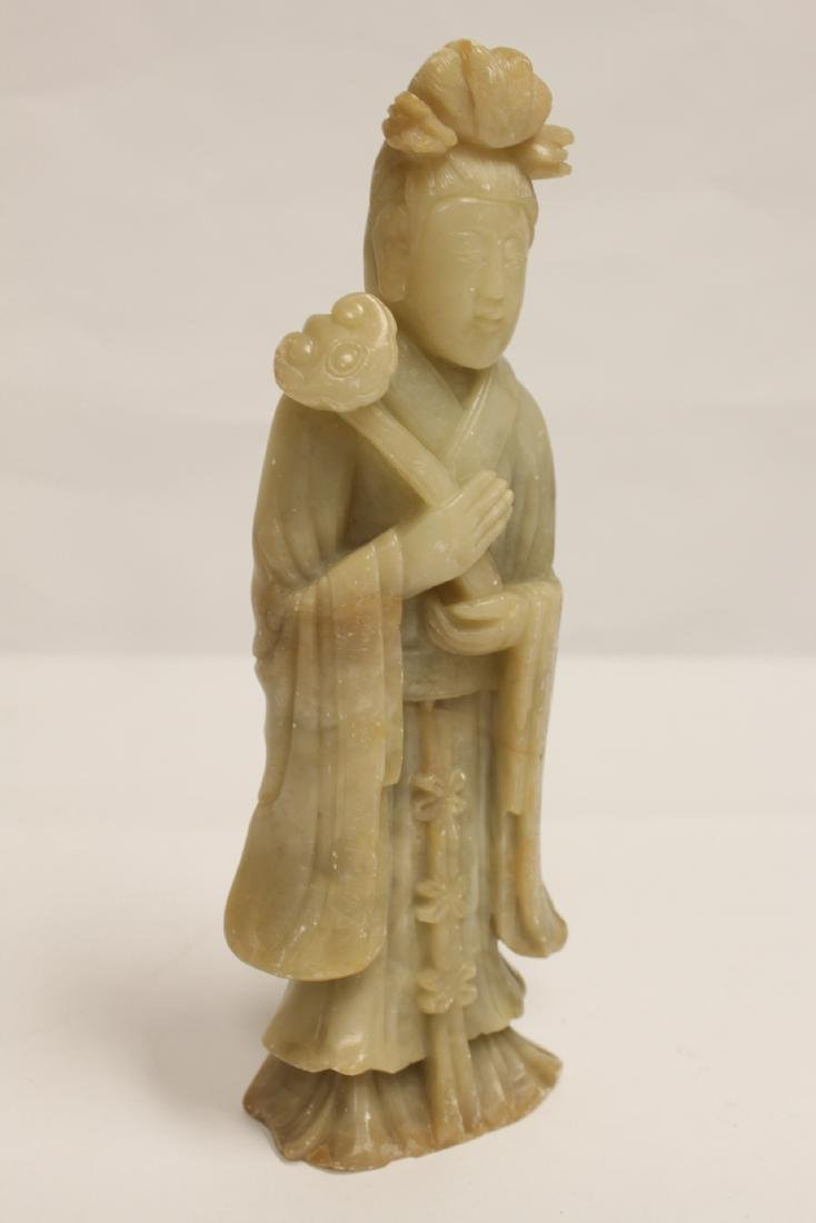 Chinese shoushan stone carved Guanyin - 9
