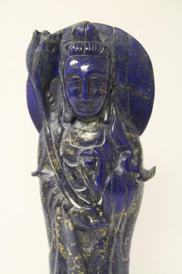 Chinese lapis carved Guanyin - 3