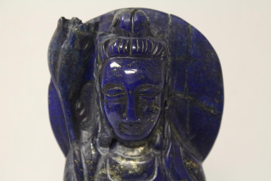 Chinese lapis carved Guanyin - 4