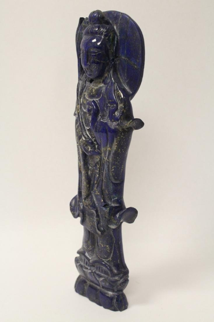 Chinese lapis carved Guanyin - 5