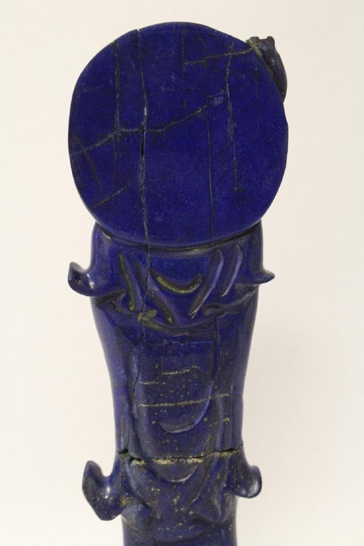 Chinese lapis carved Guanyin - 9
