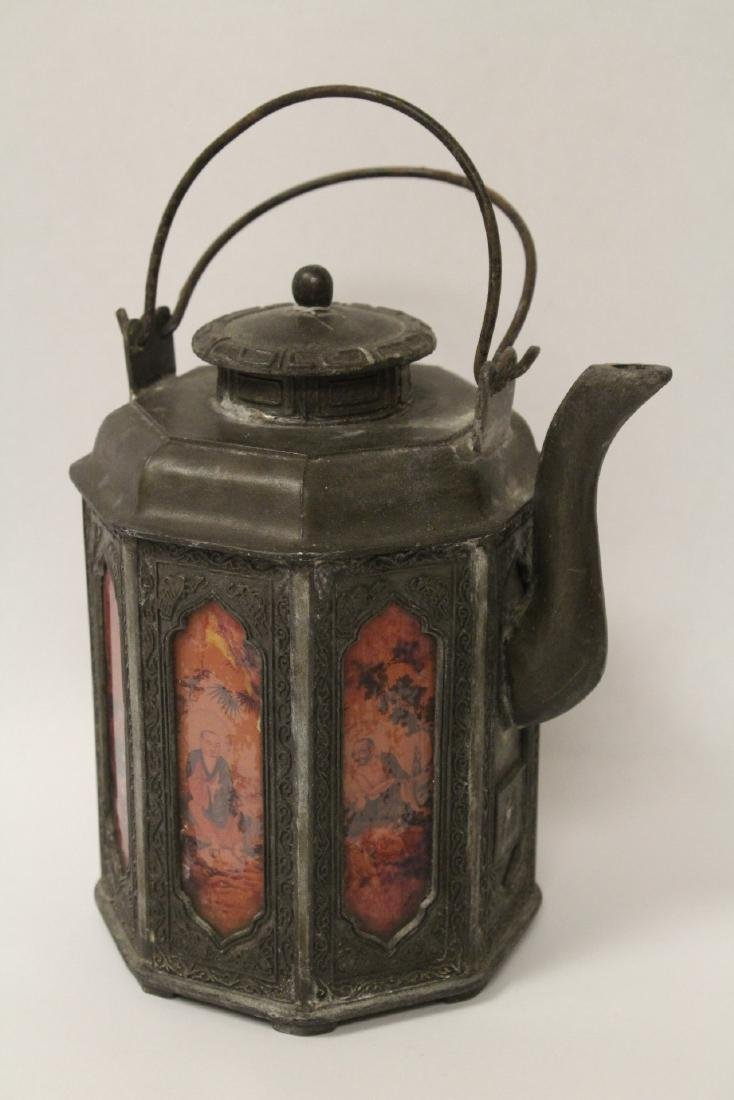 A stone carved lama and a pewter teapot - 2