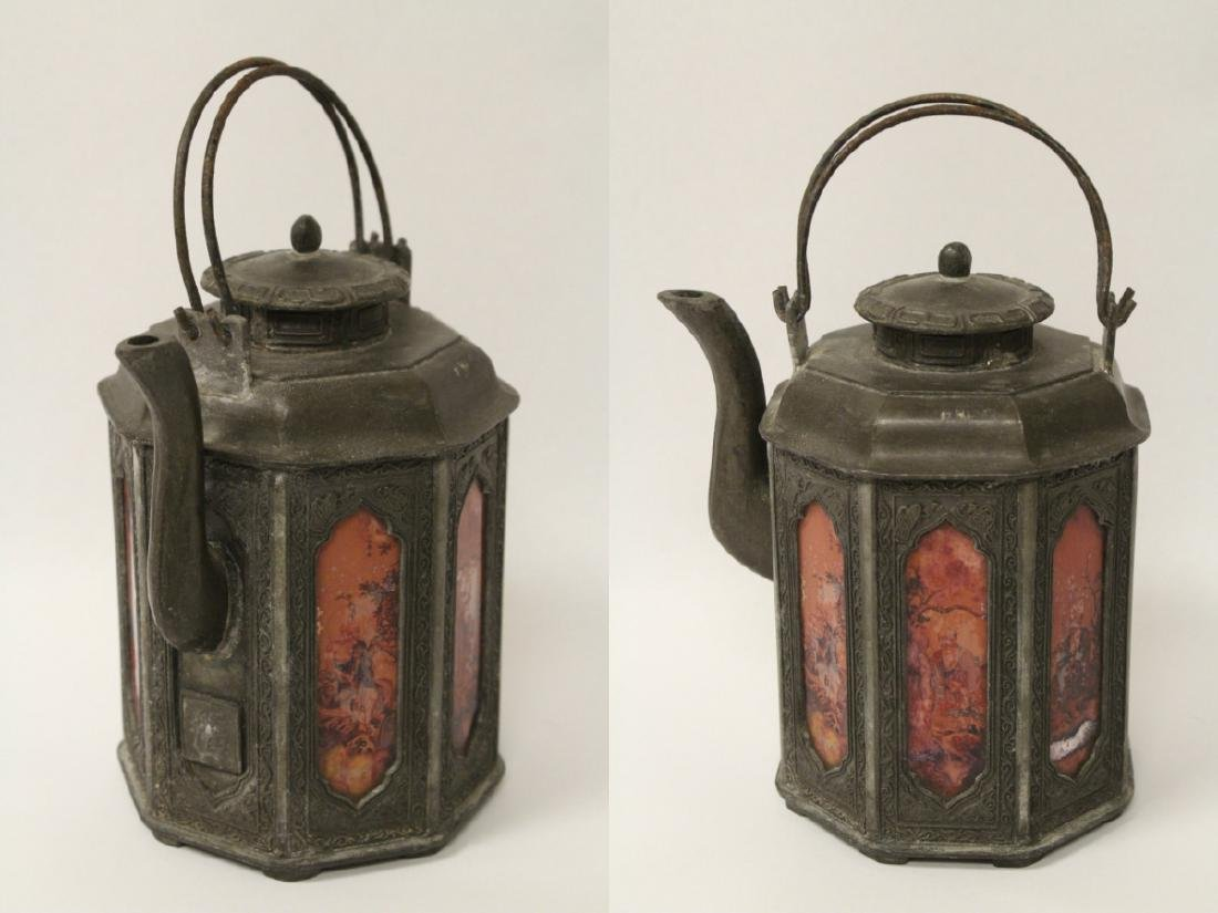 A stone carved lama and a pewter teapot - 3