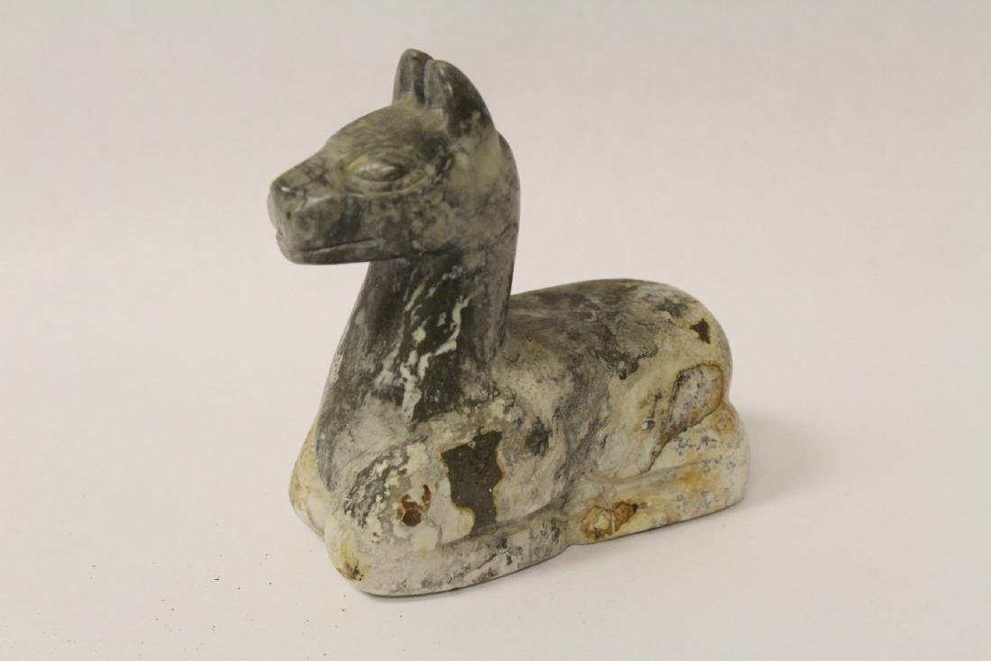A stone carved lama and a pewter teapot - 7