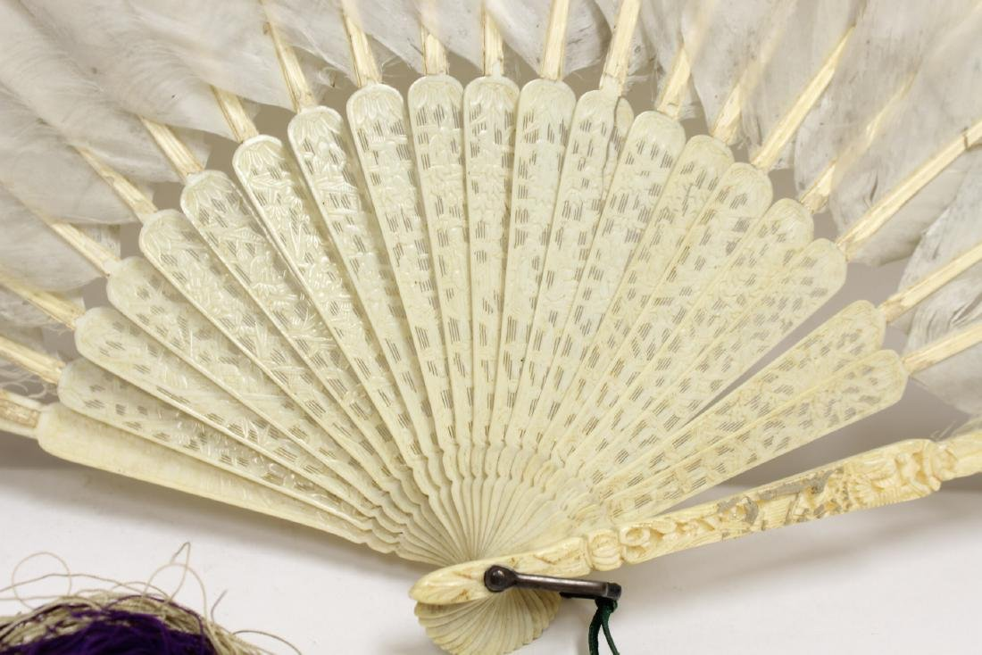 Chinese antique painted feather fan w/ fine bone frame - 10