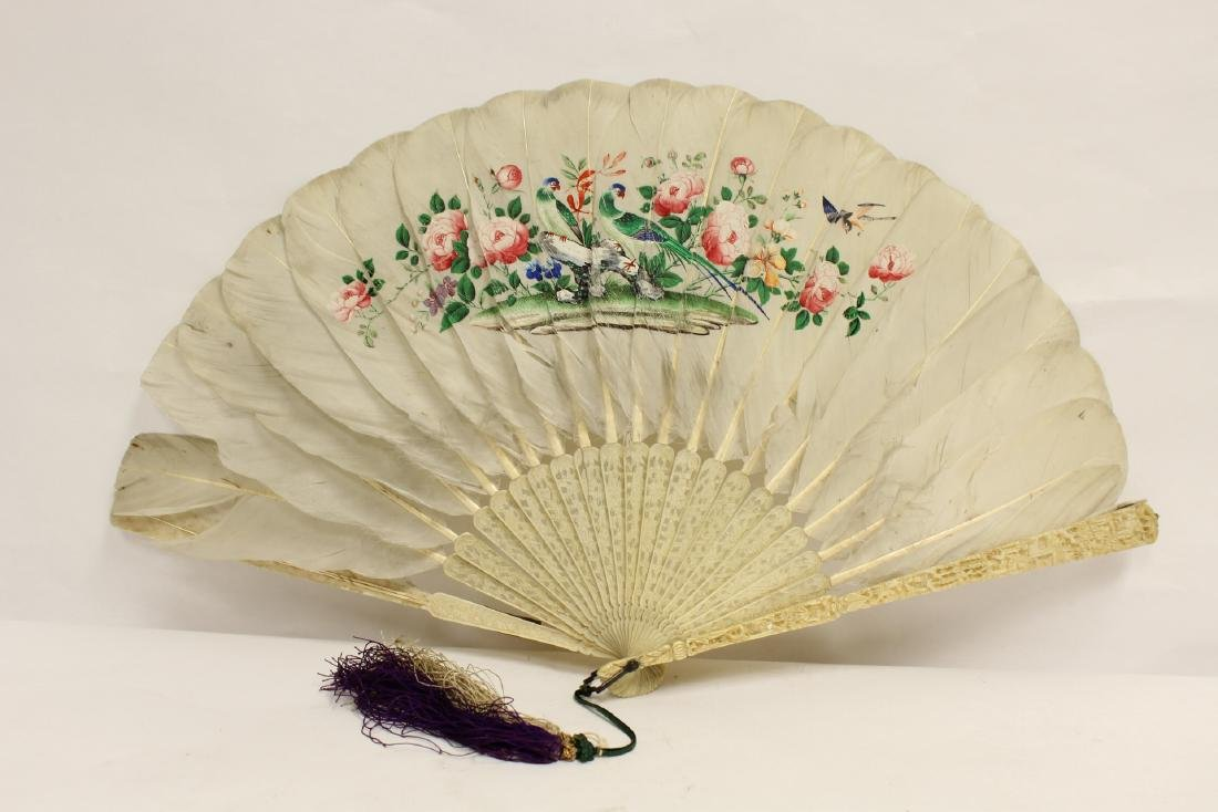 Chinese antique painted feather fan w/ fine bone frame