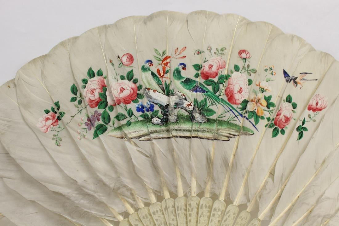 Chinese antique painted feather fan w/ fine bone frame - 3