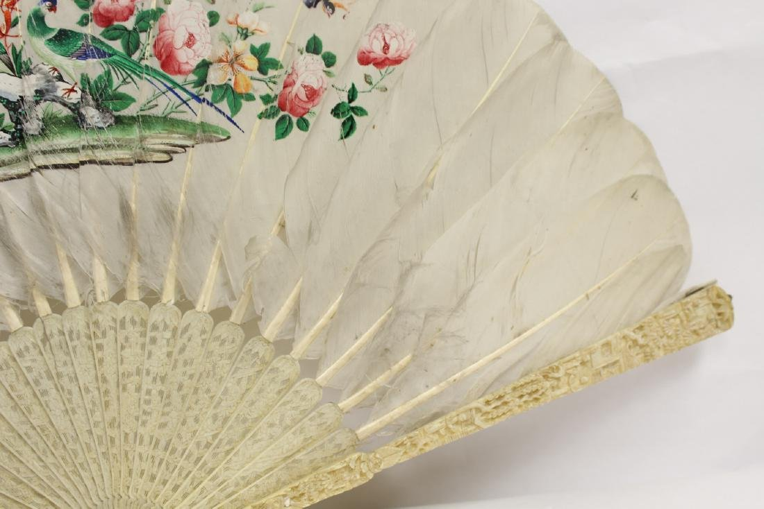 Chinese antique painted feather fan w/ fine bone frame - 4