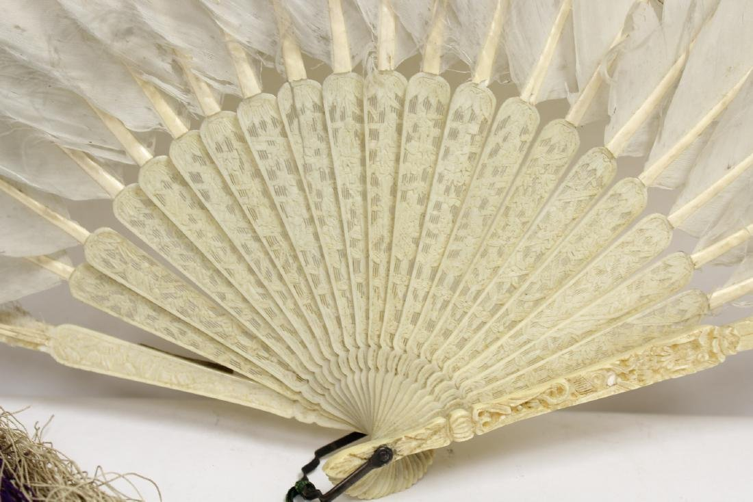 Chinese antique painted feather fan w/ fine bone frame - 5