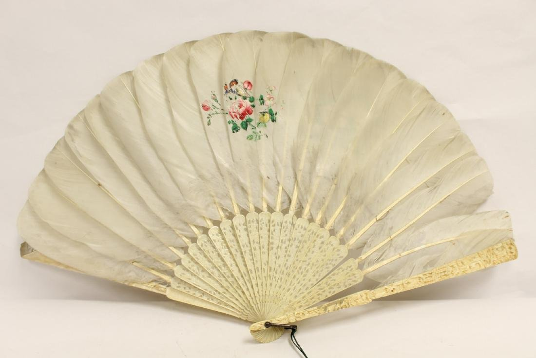 Chinese antique painted feather fan w/ fine bone frame - 6
