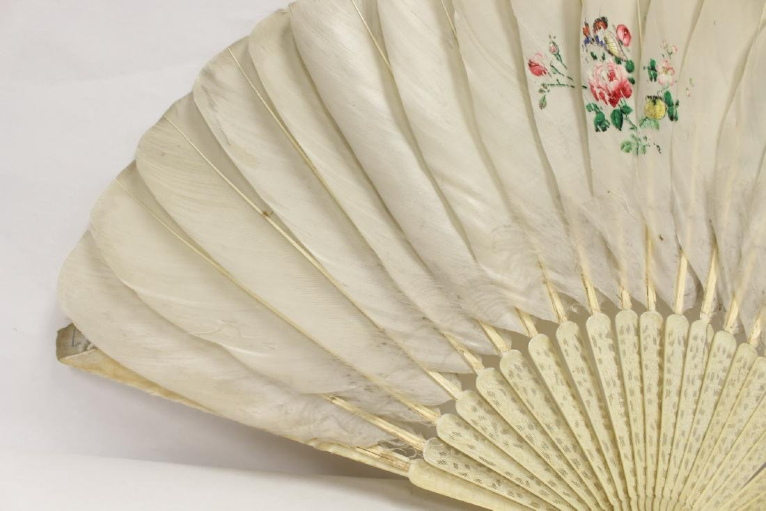 Chinese antique painted feather fan w/ fine bone frame - 7