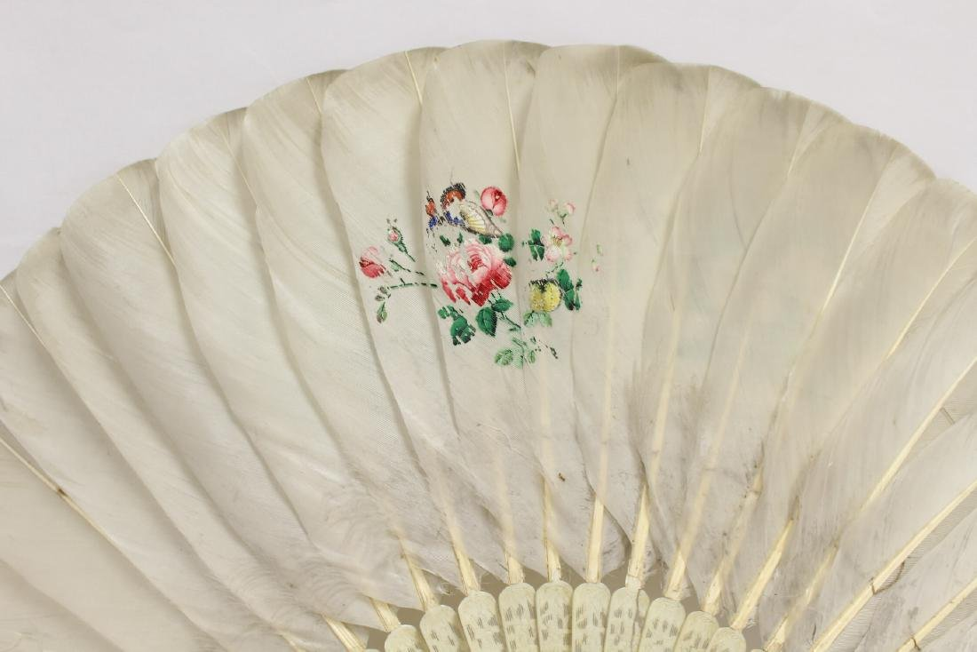 Chinese antique painted feather fan w/ fine bone frame - 8