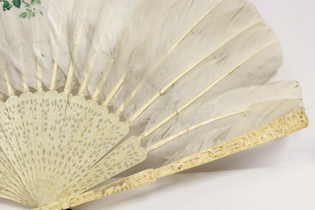 Chinese antique painted feather fan w/ fine bone frame - 9