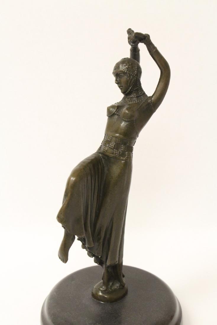 Art deco style bronze sculpture of dancing lady - 2