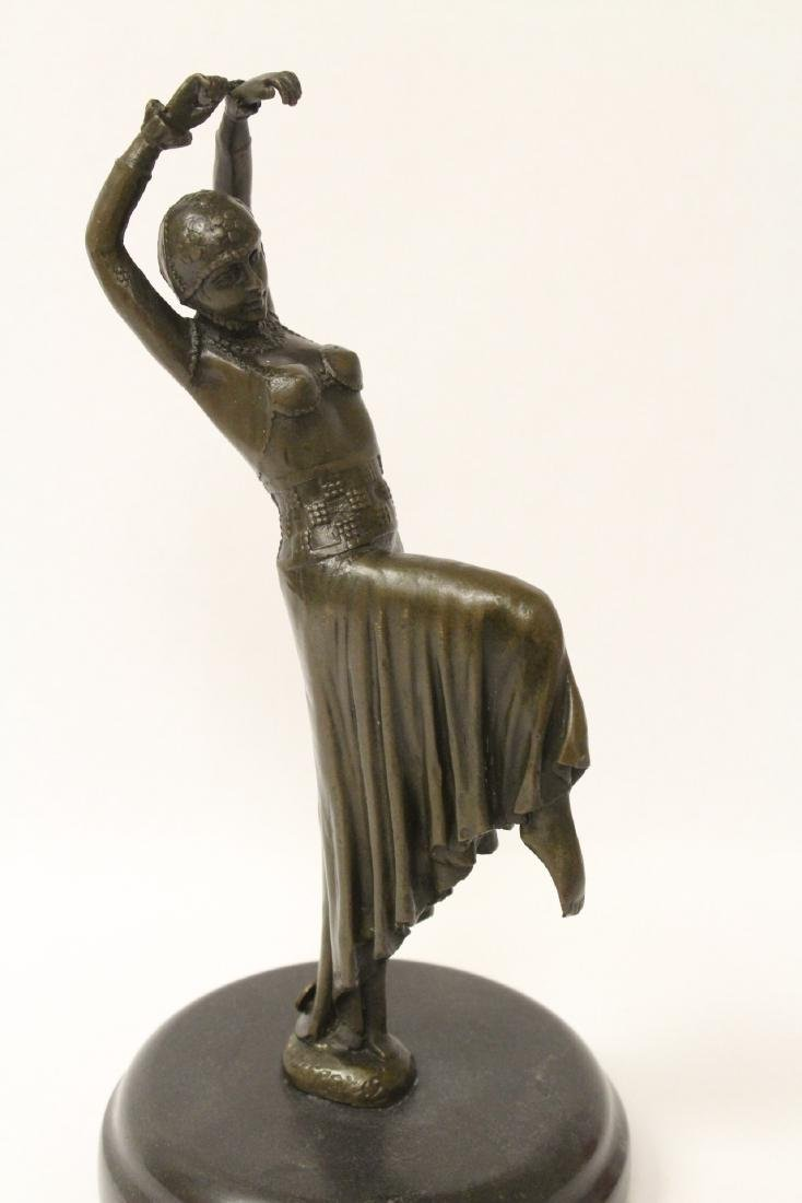 Art deco style bronze sculpture of dancing lady - 3
