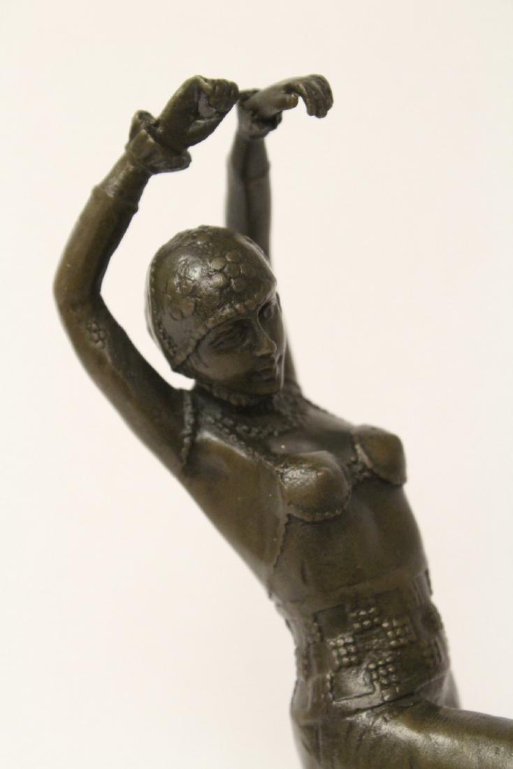 Art deco style bronze sculpture of dancing lady - 4