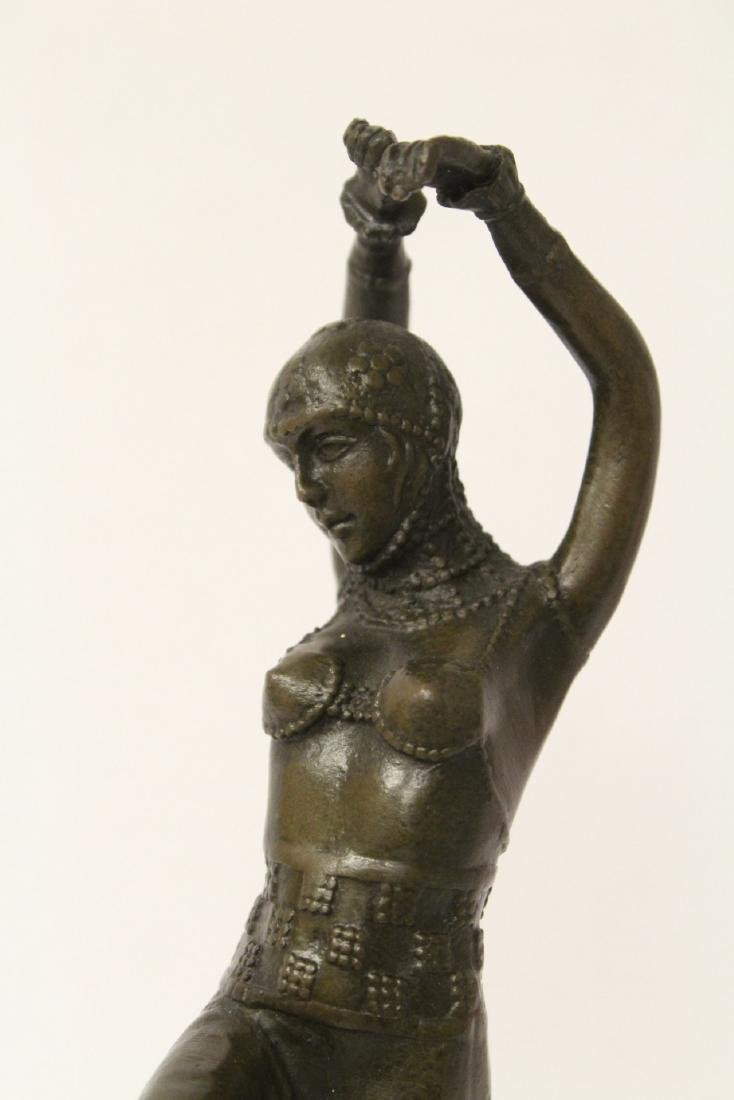 Art deco style bronze sculpture of dancing lady - 5