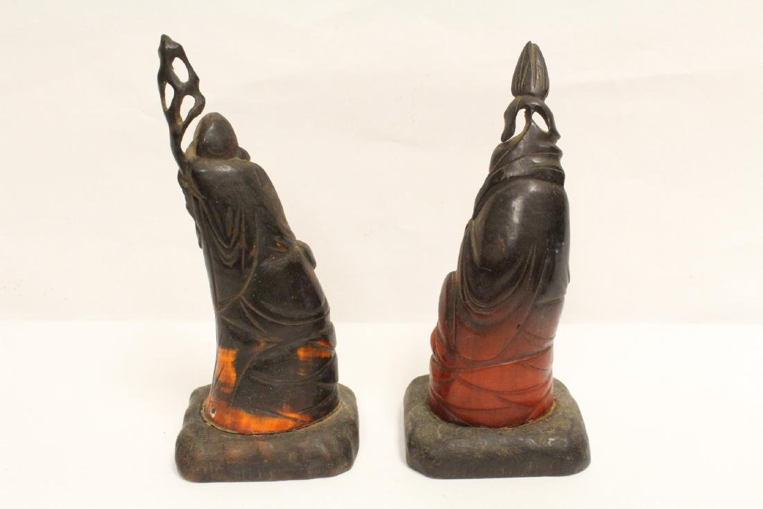 6 Chinese horn carved figures - 4