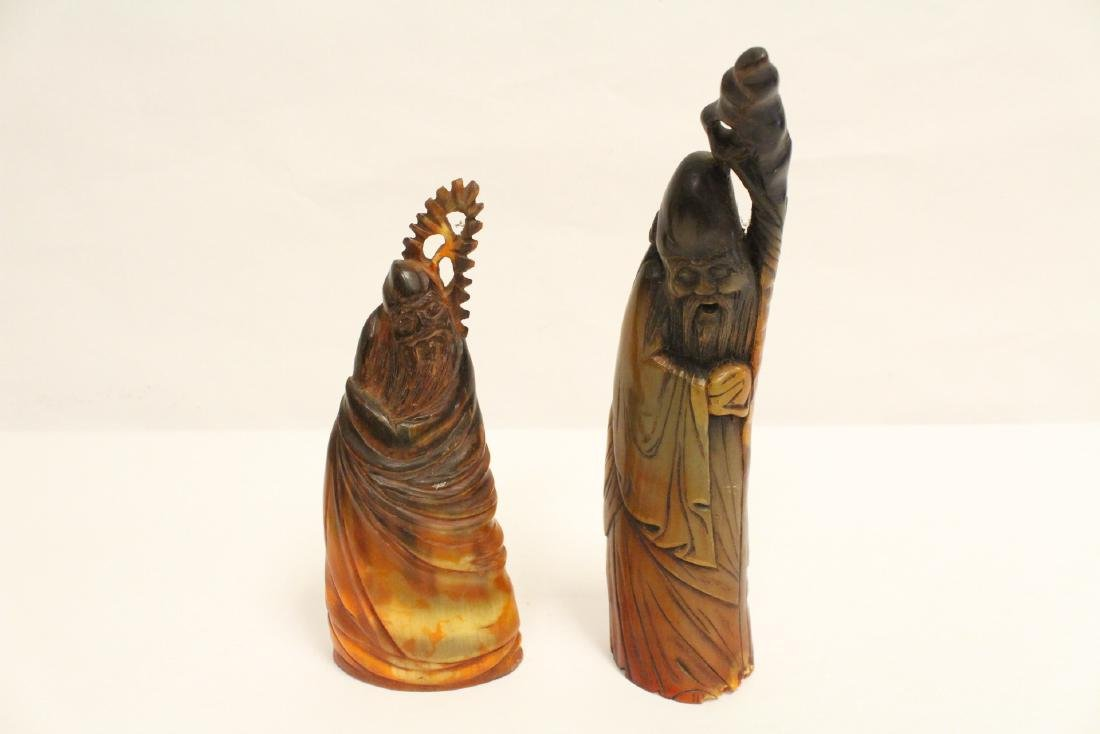6 Chinese horn carved figures - 8