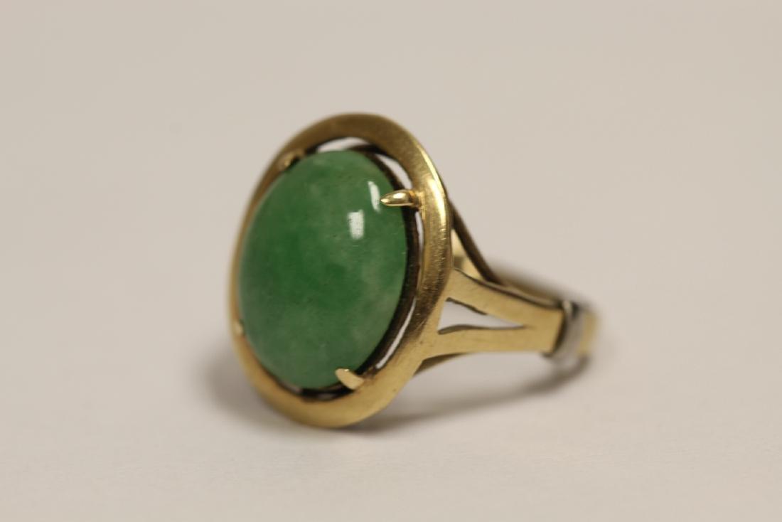 14K Y/G jadeite ring - 3