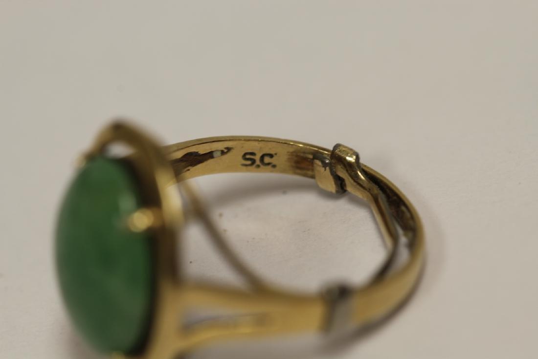 14K Y/G jadeite ring - 5