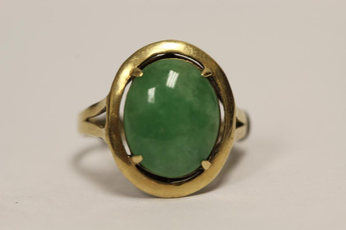 14K Y/G jadeite ring - 6