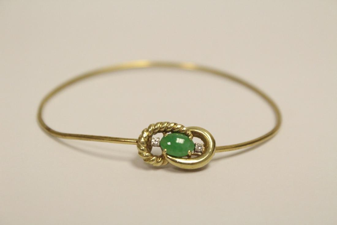 14K jadeite diamond bangle bracelet