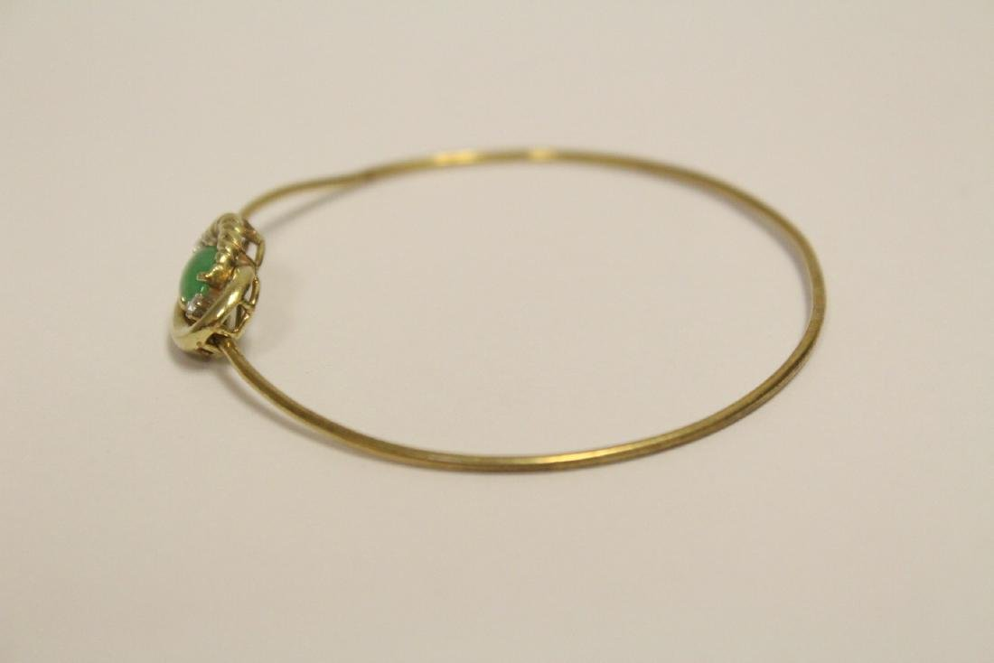 14K jadeite diamond bangle bracelet - 2