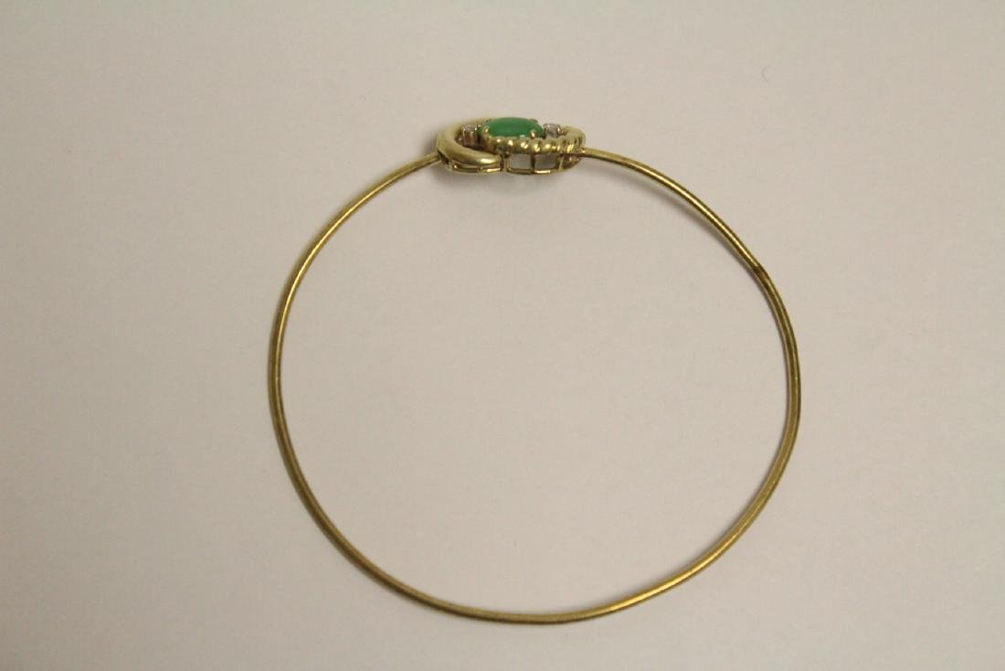 14K jadeite diamond bangle bracelet - 5