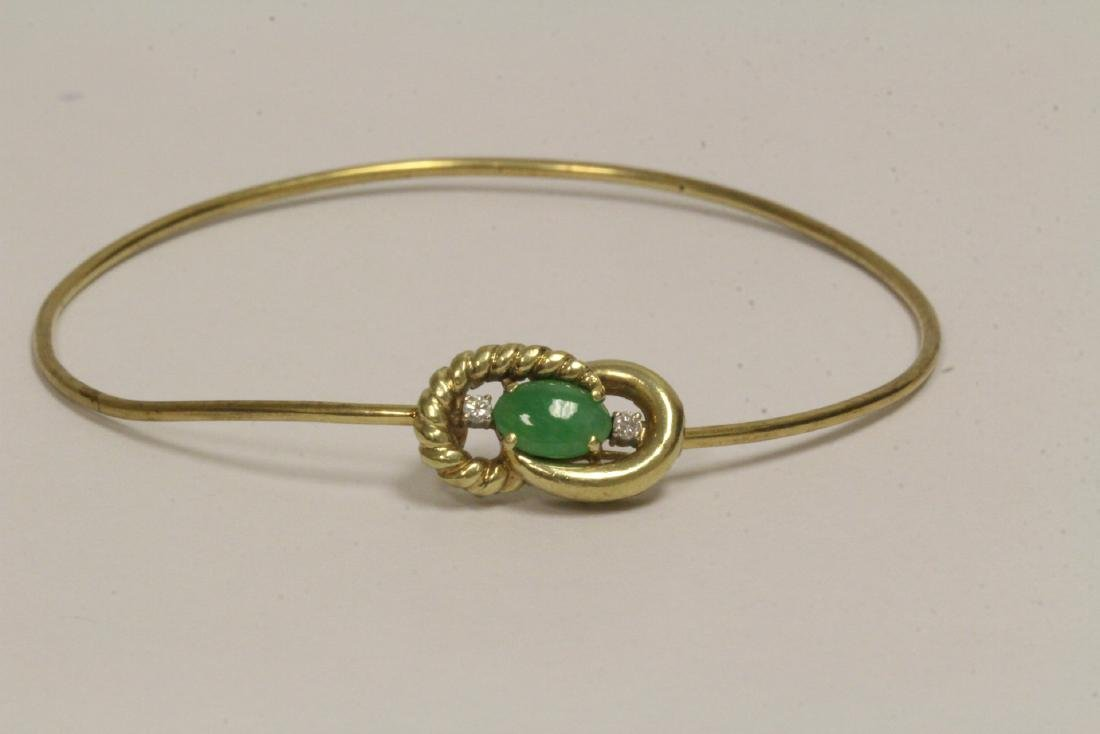 14K jadeite diamond bangle bracelet - 6