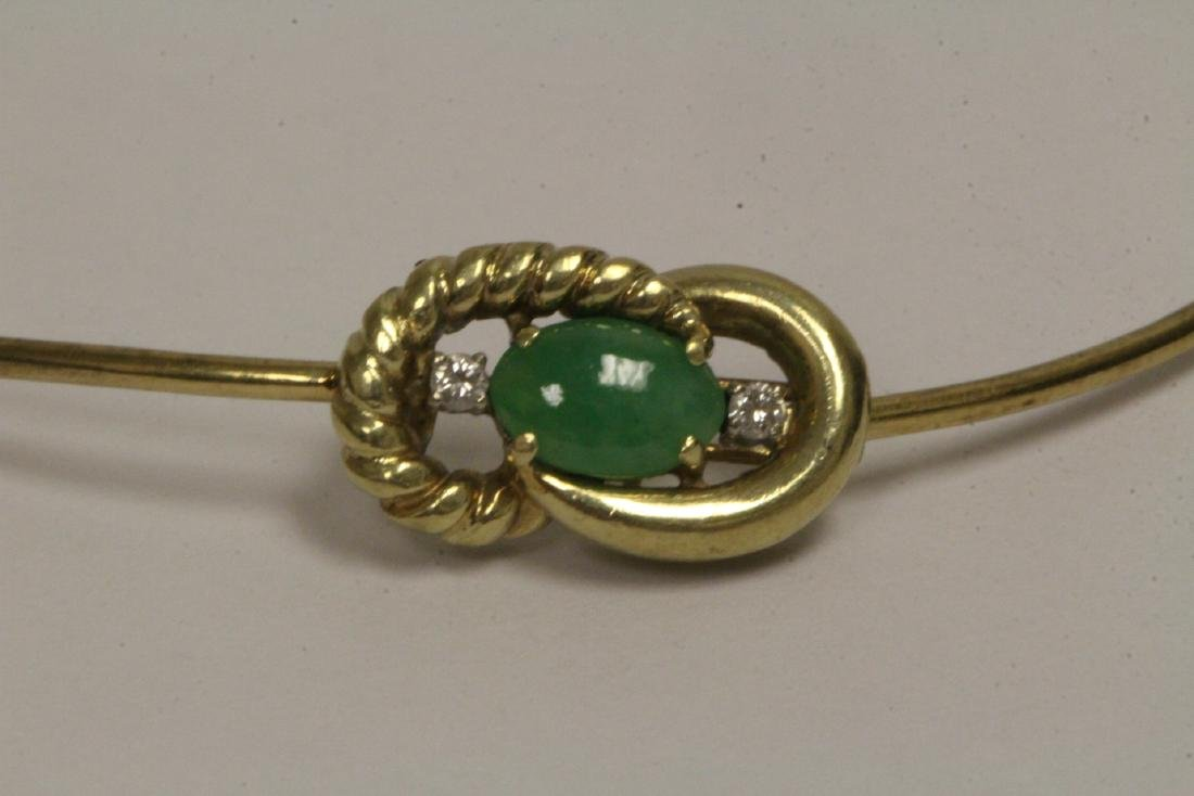 14K jadeite diamond bangle bracelet - 7