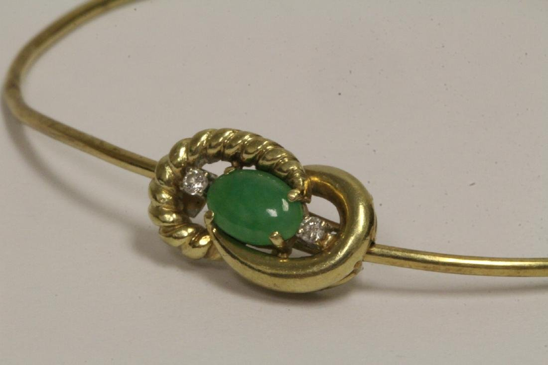 14K jadeite diamond bangle bracelet - 8