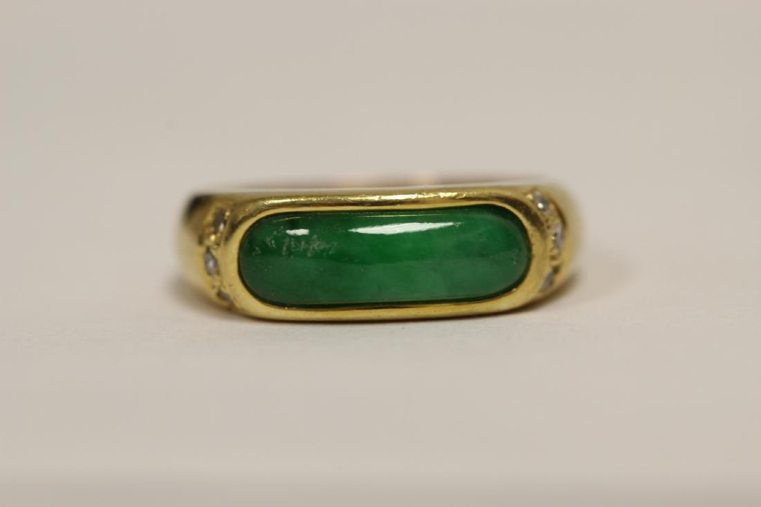 A beautiful 18K Y/G jadeite ring