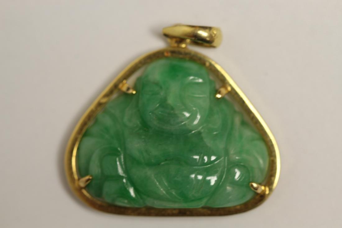 14K Y/G jadeite pendant - 7