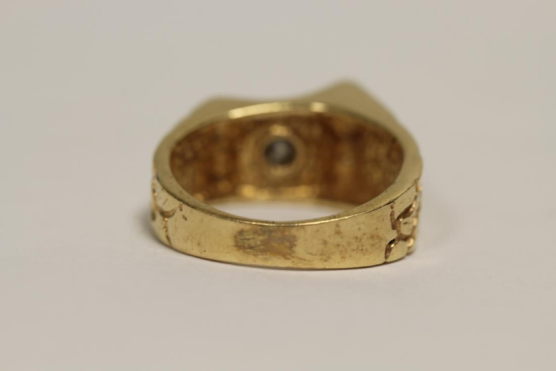 A 14K rose gold retro style diamond ring - 3
