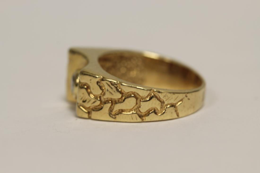 A 14K rose gold retro style diamond ring - 4