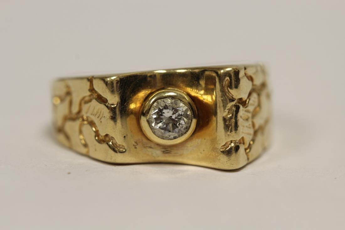 A 14K rose gold retro style diamond ring - 6