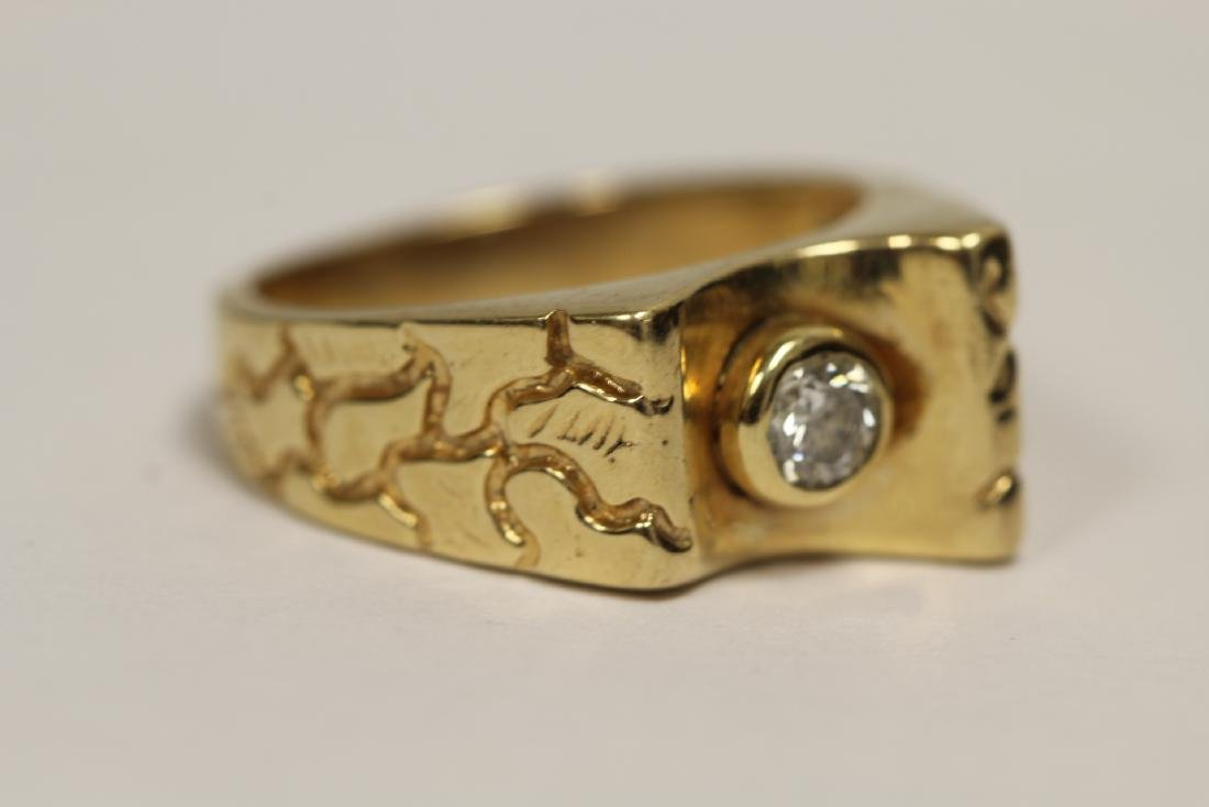 A 14K rose gold retro style diamond ring - 7