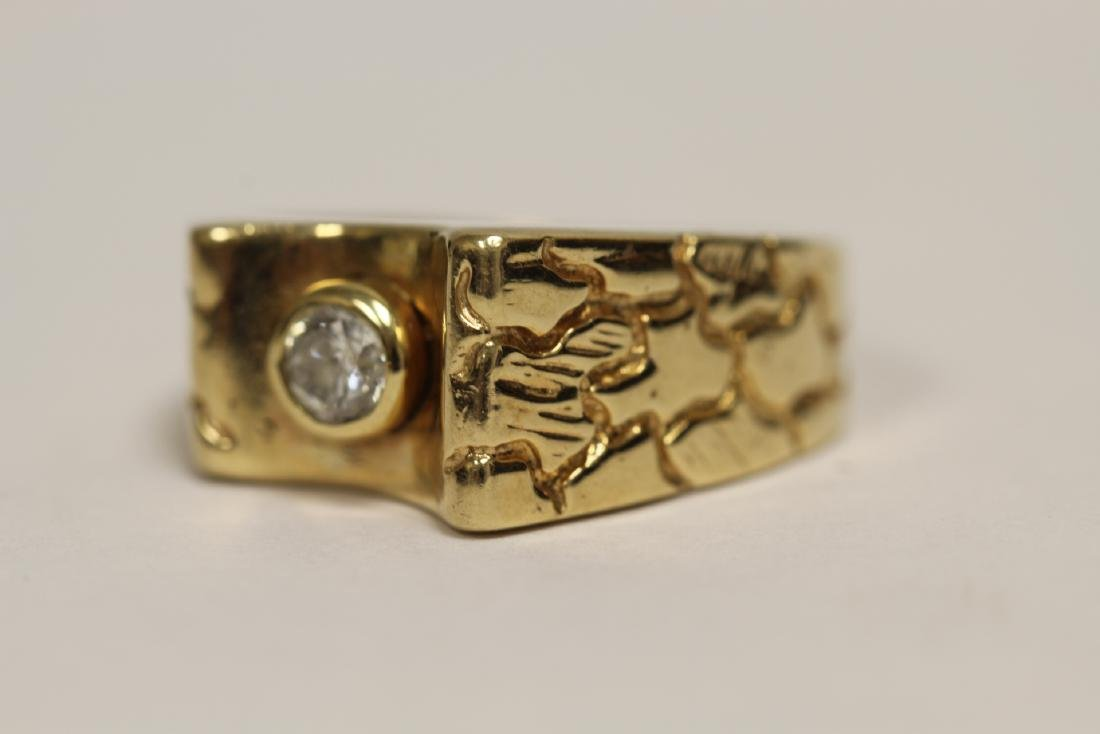 A 14K rose gold retro style diamond ring - 8