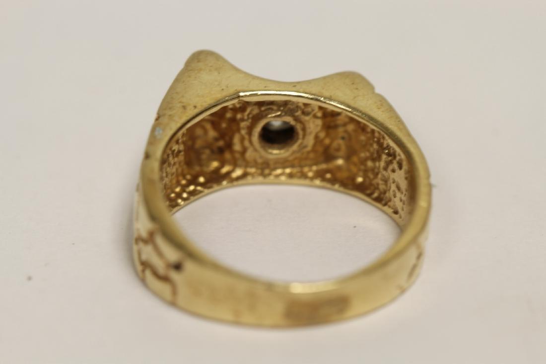 A 14K rose gold retro style diamond ring - 9