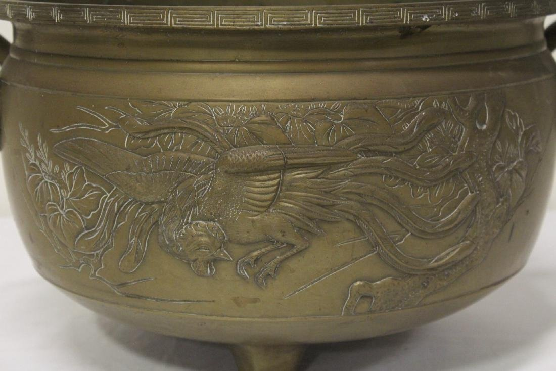 A large Chinese bronze antique temple censer - 3