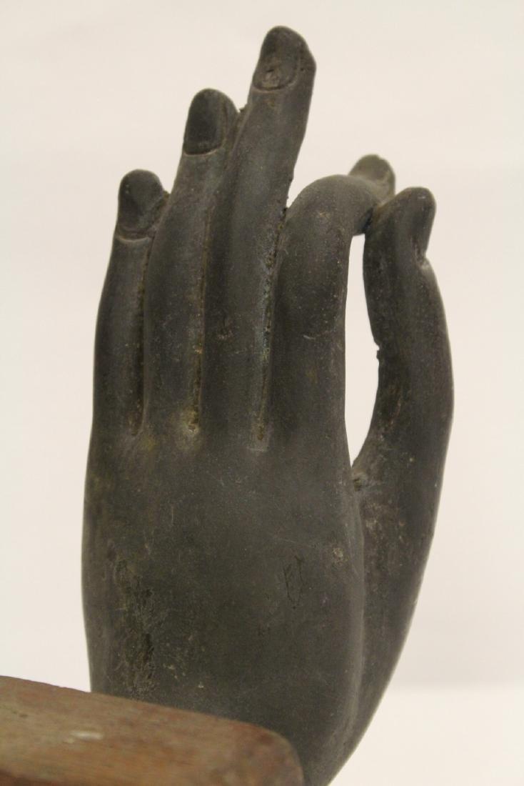 Chinese bronze Buddha hand on stand - 5