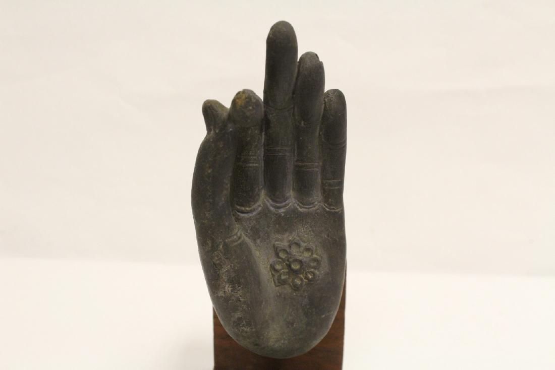 Chinese bronze Buddha hand on stand - 8