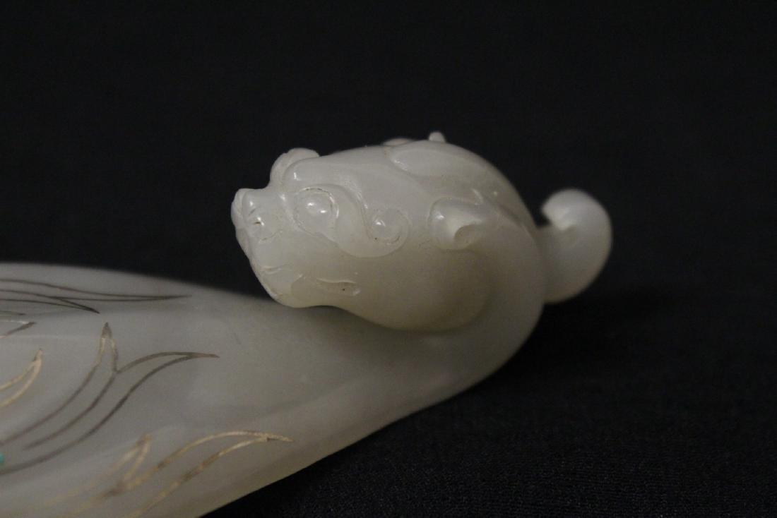 Chinese jade carved belt buckle - 4