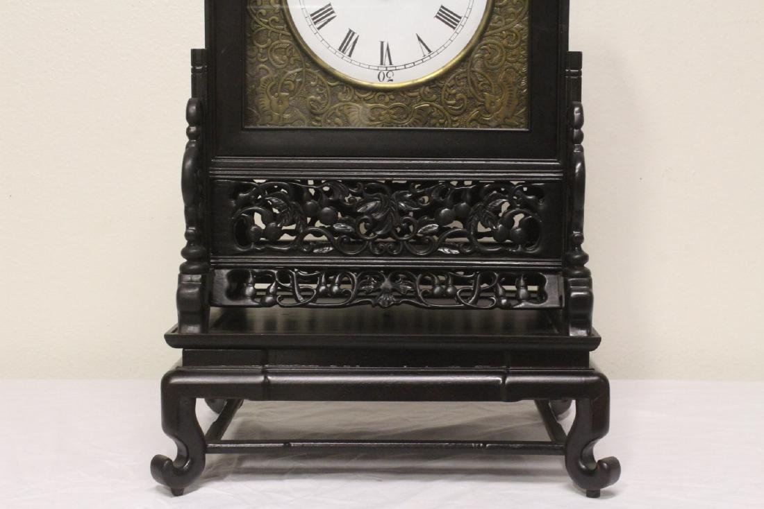 Chinese rosewood cased table clock with stand - 2