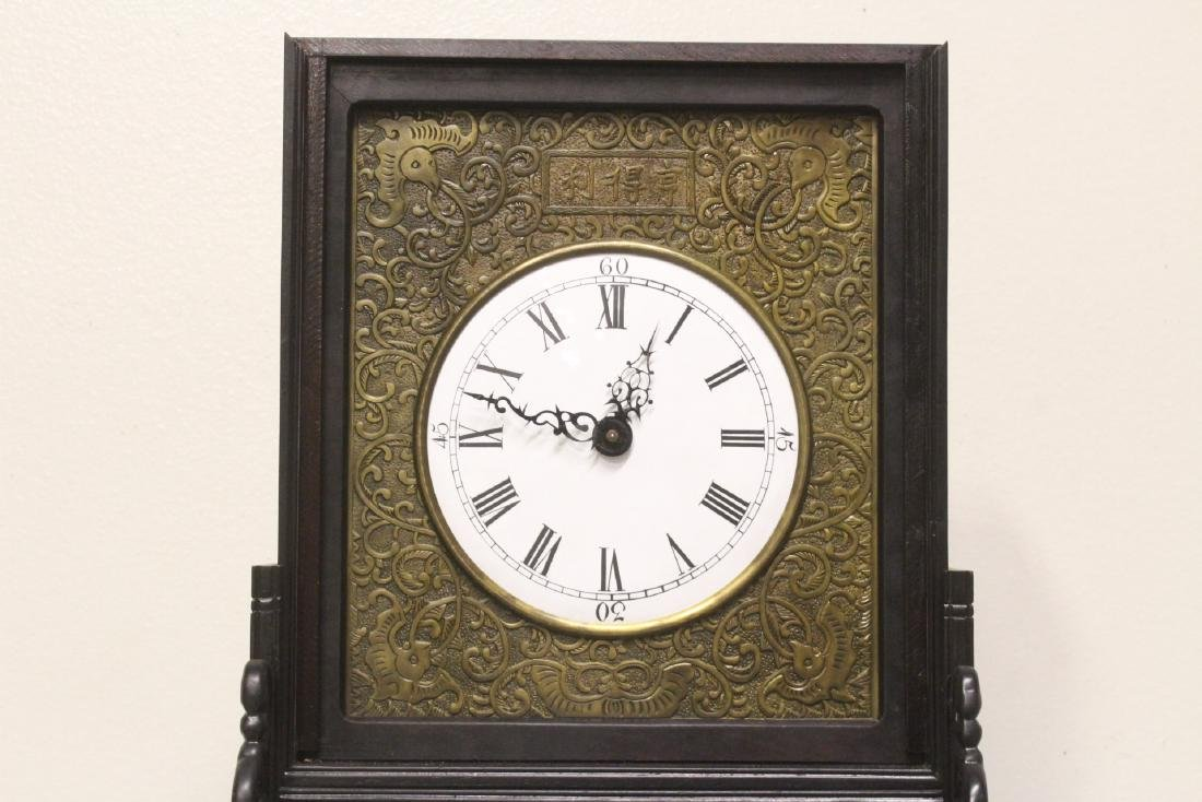 Chinese rosewood cased table clock with stand - 4